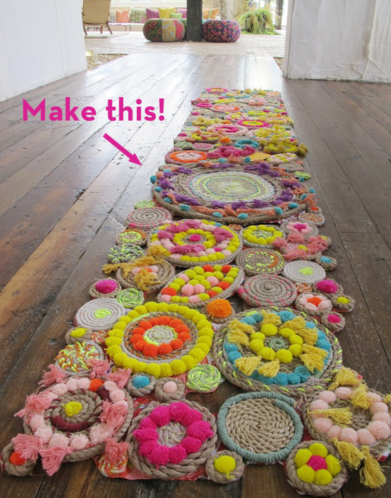 Paso a paso tutoriales alfombra de cuerda y pompones - Alfombras de cuerda ...
