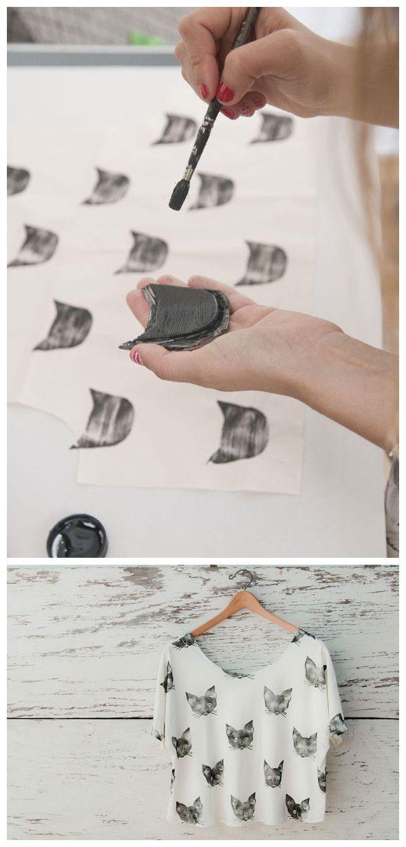 tunear camiseta con sellos de gato
