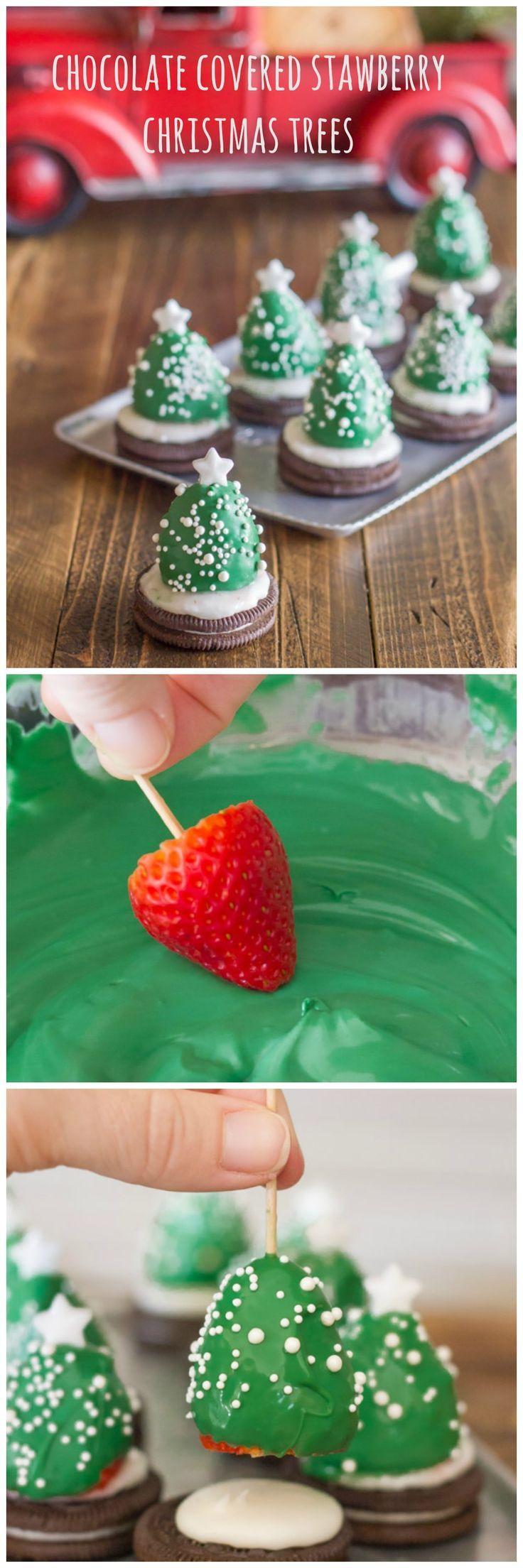 Cocina: arbol de navidad con fresas y cubierta de chocolate