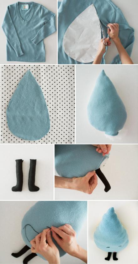 reciclando jerseys viejos - tutorial cojín con forma de gota
