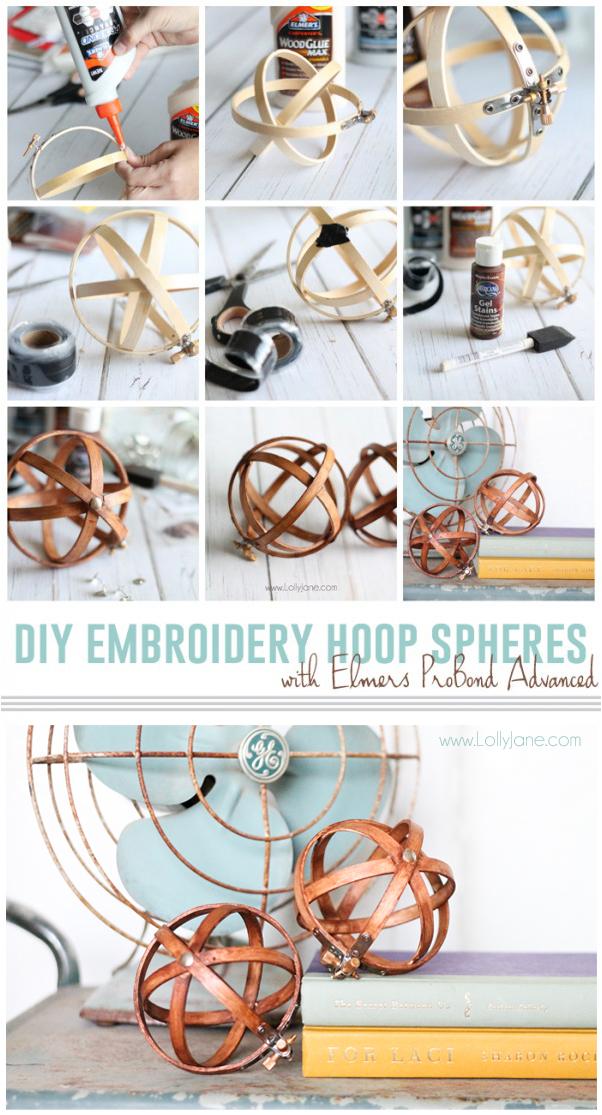 esferas con bastidores de bordado tutorial