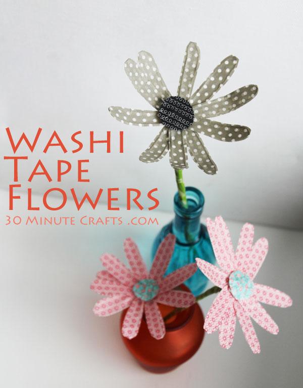 como hacer flores de washi tape