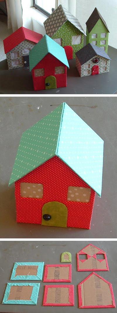 casitas de carton forradas de telas - Tutorial