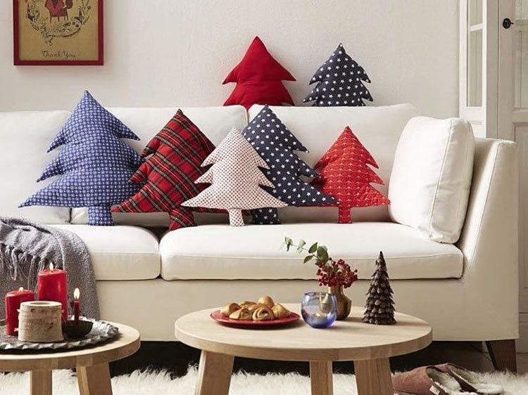 Cojines para navidad rboles de navidad tela costura - Arboles de navidad de tela ...