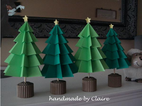 Rboles de navidad de papel paso a paso manualidades - Arboles de navidad de papel ...