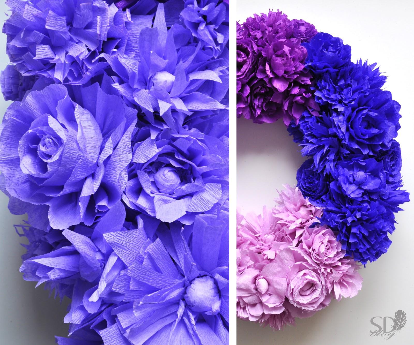 Corona con papel tissu corona de flores de papel manualidades diy comando craft - Manualidades con papel craft ...
