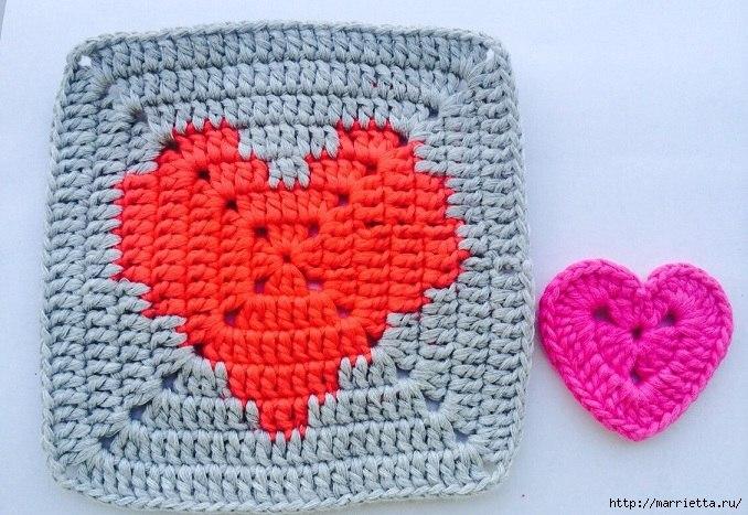 Patrones – Granny Squares – Corazones – Manta – Crochet – Ganchillo ...