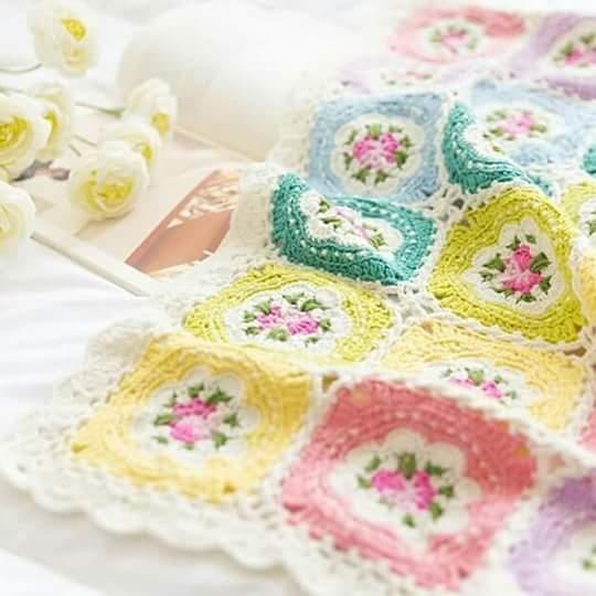 Como Hacer Cuadros De Crochet Para Mantas.Manta Granny Squares Cuadros De La Abuela Manta Crochet