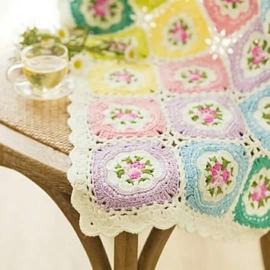 Manta granny squares cuadros de la abuela manta - Mantas de crochet a cuadros ...