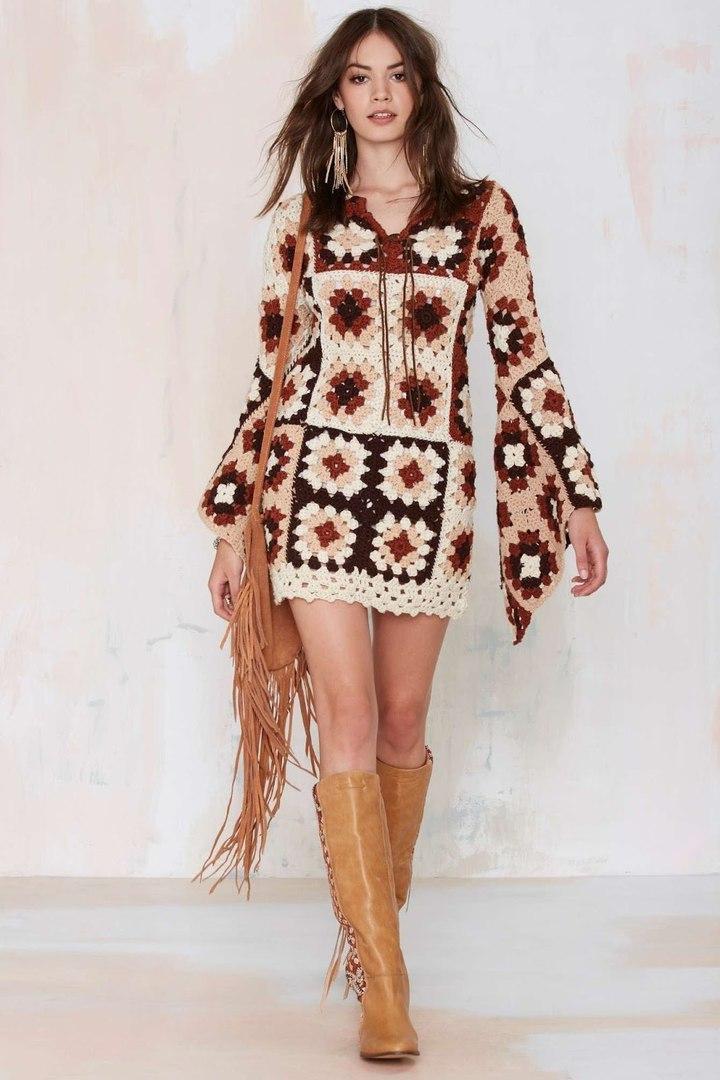 Patrones – Diagramas – Vestido Crochet – Granny Squares – Vestido ...