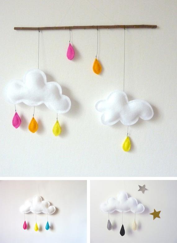 Moldes y pap nubes gotas y arco iris fieltro for Decoracion habitacion bebe goma eva