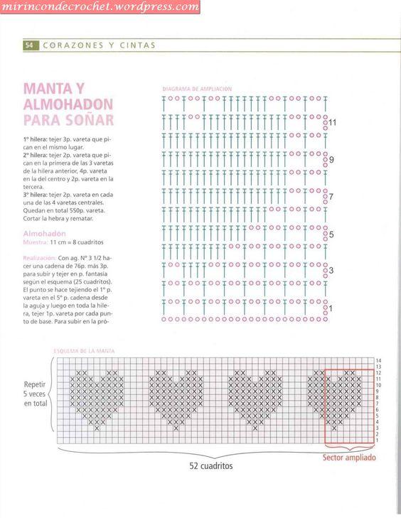 Corazones con punto de red Crochet – Patrones y como leerlos ...